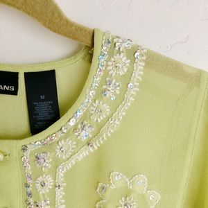 DKNYC Tops - DKNY II Jeans Green Embroidered Sequin Top Size M